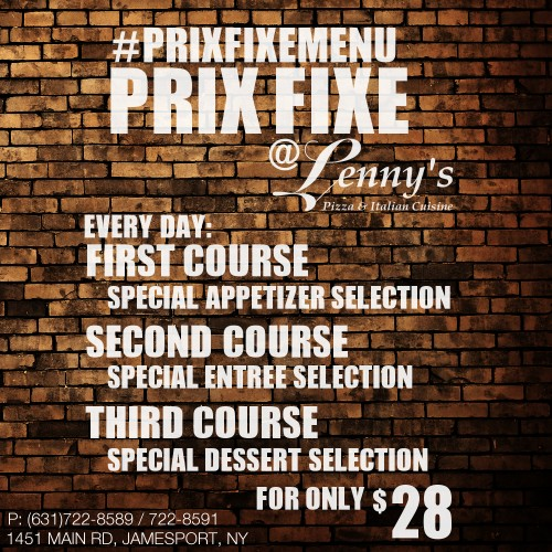 Tuesday Prix Fixe Menu