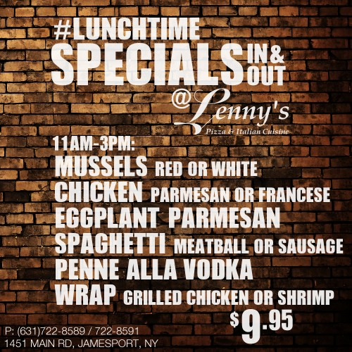 Friday $9.95 Eat-In / Take-Out Lunch Specials